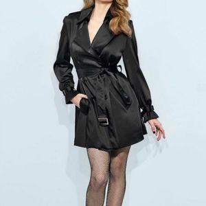 Bebe black trench coat jacket medium
